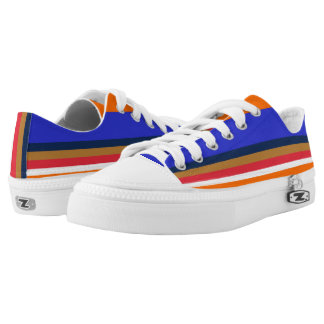 Royal Midnight Copper Red White and Orange Lo-Tops Printed Shoes