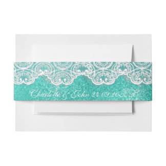 Royal Mint Blue Lace White Vintage Wedding Band Invitation Belly Band