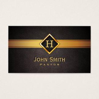 Royal Monogram Gold Label Pastor Business Card