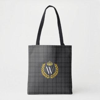 Royal Monogram Plaid Personalize Tote Bag