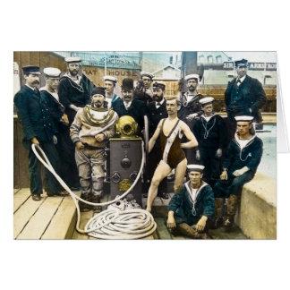 Royal Naval Exhibition 1891 Vintage Hardhat Diver Card