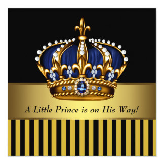 Royal Navy Blue Black Gold Prince Baby Boy Shower Personalized Invite