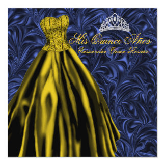 """Royal Navy Blue Gold Dress Blue Gold Quinceanera 5.25"""" Square Invitation Card"""