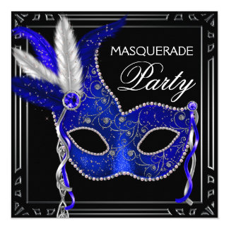 Royal Navy Blue Mask Masquerade Party Card