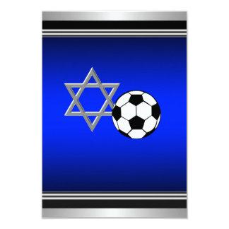 Royal Navy Blue Soccer Theme Bar Mitzvah 9 Cm X 13 Cm Invitation Card