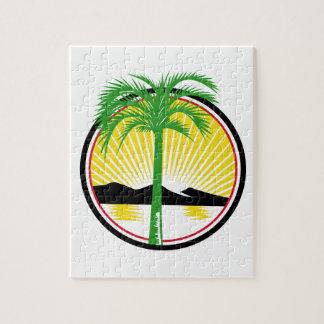 Royal Palm Beach Sea Mountain Retro Jigsaw Puzzle
