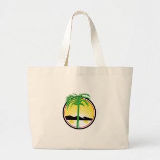Royal Palm Beach Sea Mountain Retro Large Tote Bag