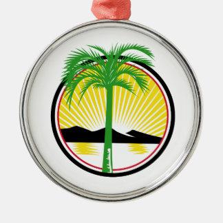 Royal Palm Beach Sea Mountain Retro Metal Ornament