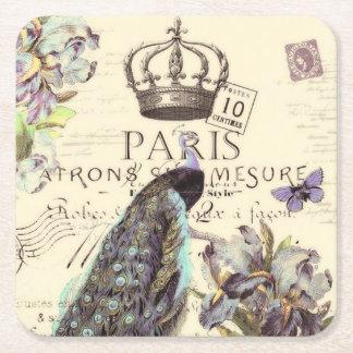 Royal Paris peacock Square Paper Coaster