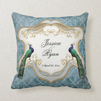 Royal Peacock Blue Personalized Anniversary Pillow