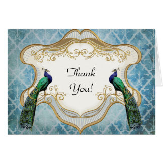 Royal Peacock Blue Thank You Greeting Card