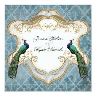 Royal Peacock Blue Wedding Invitation