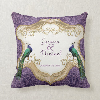 Royal Peacock (Purple) Personalized Anniversary Cushion