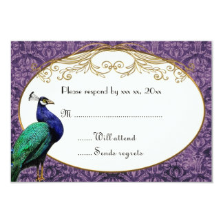 Royal Peacock Purple RSVP Card 9 Cm X 13 Cm Invitation Card