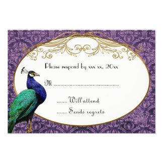 Royal Peacock Purple RSVP Card Custom Invitations