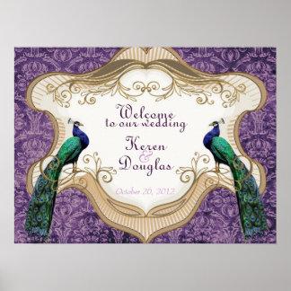 Royal Peacock Purple Wedding/Anniversary Poster