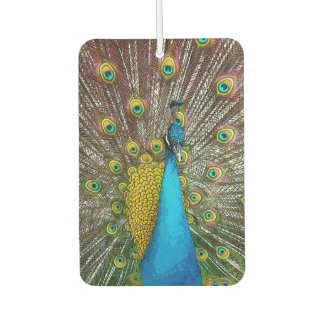 Royal Peacock with Teal Gold and Blue Plumage Car Air Freshener