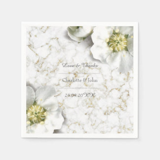 Royal Personalized Floral Marble Gold White Thank Paper Serviettes