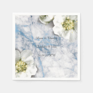 Royal Personalized Floral Marble Gray White Blue Paper Napkin