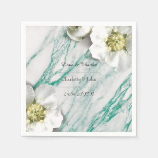 Royal Personalized Floral Marble Tiffany White Paper Napkin