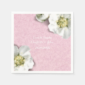 Royal Personalized Floral Pink  Gray White Thank Paper Napkin