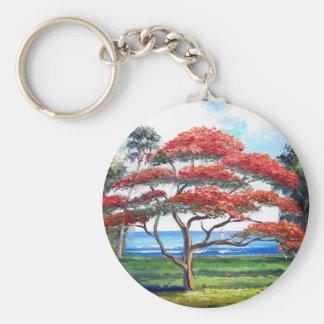 Royal Poinciana Tree Art Basic Round Button Key Ring
