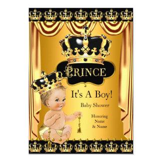 Royal Prince Baby Shower Black Gold Blonde Card