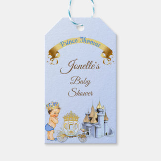 Royal Prince Castle Carriage Blue Gold Boy Gift Tags