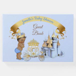 Royal Prince Castle Carriage Blue Gold Boy Guest Book