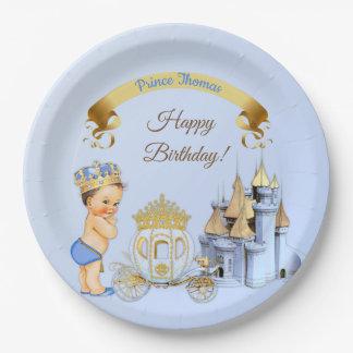 Royal Prince Castle Carriage Blue Gold Boy Paper Plate