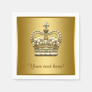 Royal Prince King Gold Crown Paper Serviettes