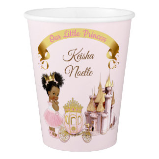 Royal Princess Castle Carriage Pink Gold Girl Paper Cup