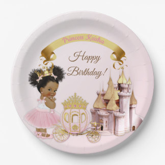 Royal Princess Castle Carriage Pink Gold Girl Paper Plate