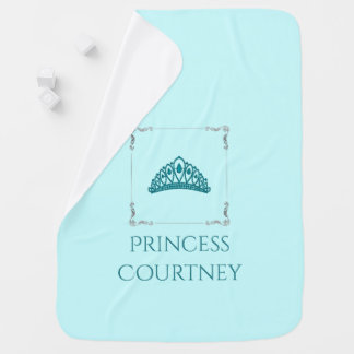 Royal Princess Crown Tiara Teal Aqua Nursery Baby Blanket