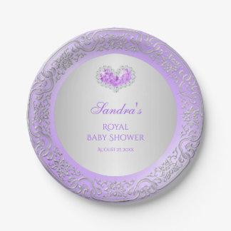 Royal Princess Lavender Silver Diamond Heart Gem 7 Inch Paper Plate