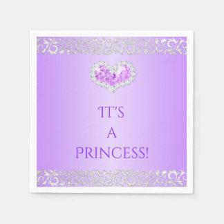 Royal Princess Lavender & Silver Diamond Heart Paper Serviettes