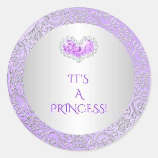 Royal Princess Lilac & Silver Diamond Heart Gem Round Sticker