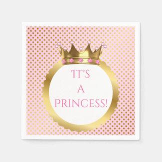 Royal Princess Pink Jewelled Gold Crown Dots Paper Serviettes