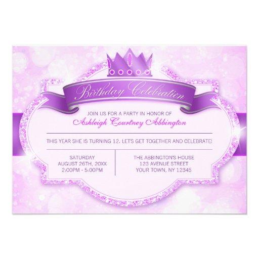 Royal Princess Purple Glitter Girls Birthday Party Invitation