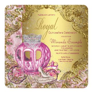 Royal Princess Quinceañera Pink and Gold Card