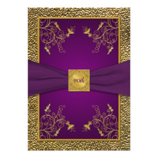 Royal Purple and Gold 90th Birthday Invitation