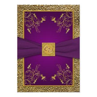 Royal Purple and Gold Monogram Wedding Invitation