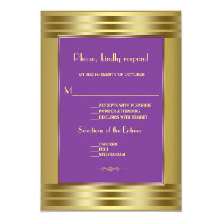 Royal Purple And Gold Wedding RSVP Card