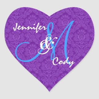 ROYAL PURPLE and TURQUOISE  Wedding Monogram V2 Heart Sticker