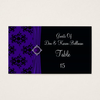 Royal Purple & Black Damask Place Business Card