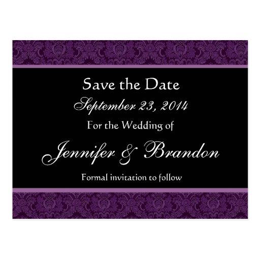 Royal Purple & Black Damask Save The Date Postcard