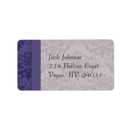 Royal Purple Damask Wedding Address Label