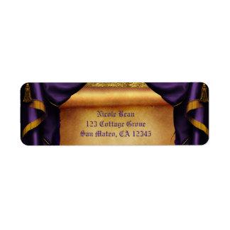 Royal Purple & Gold Drapes Scroll Wedding Party Return Address Label