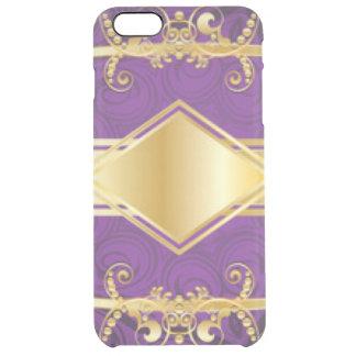 Royal Purple & Gold Pattern Print Design Clear iPhone 6 Plus Case