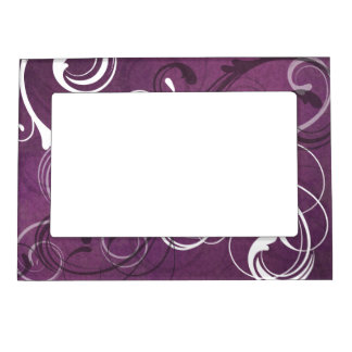 Royal Purple Grunge Damask Elegant Wedding Frame Magnets